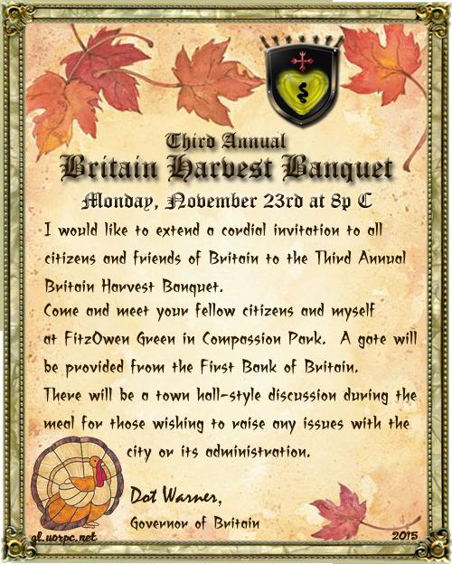 3rd Annual Britain Harvest Banquet