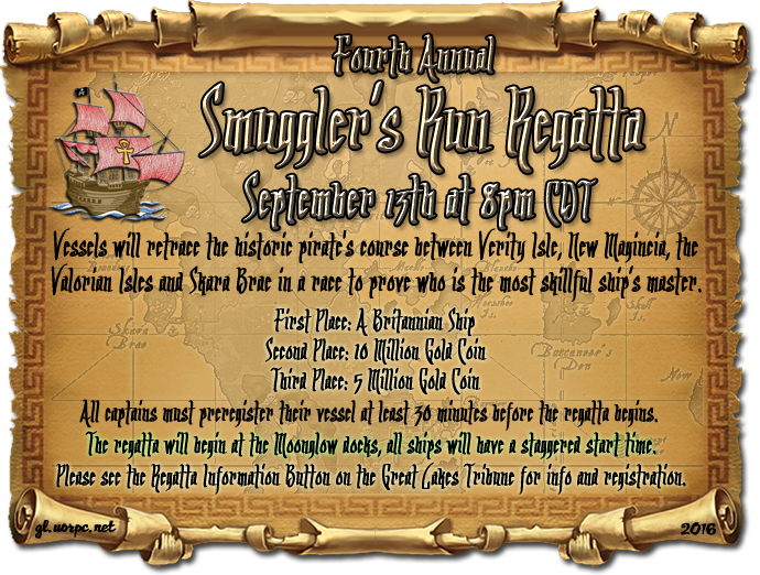 4th Annual Smuggler's Run Regatta, 9/13 @8pmC