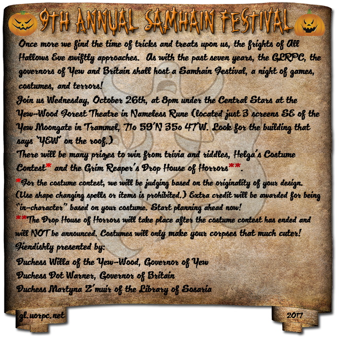 9th Annual Samhain Festival, 10-25 @ 8pmC