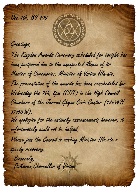 Kingdom Awards Ceremony Postponed