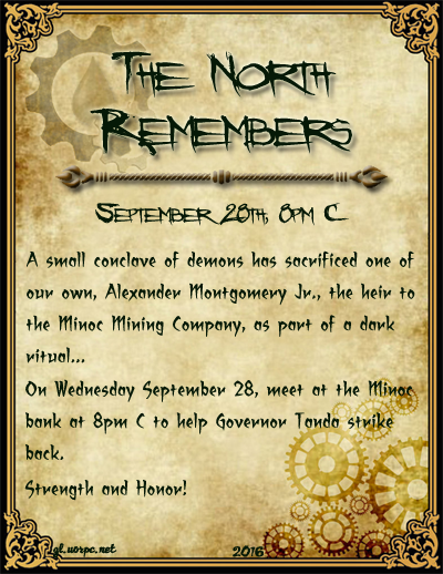 The North Remembers, Sat. Sept 24th, 8pmC