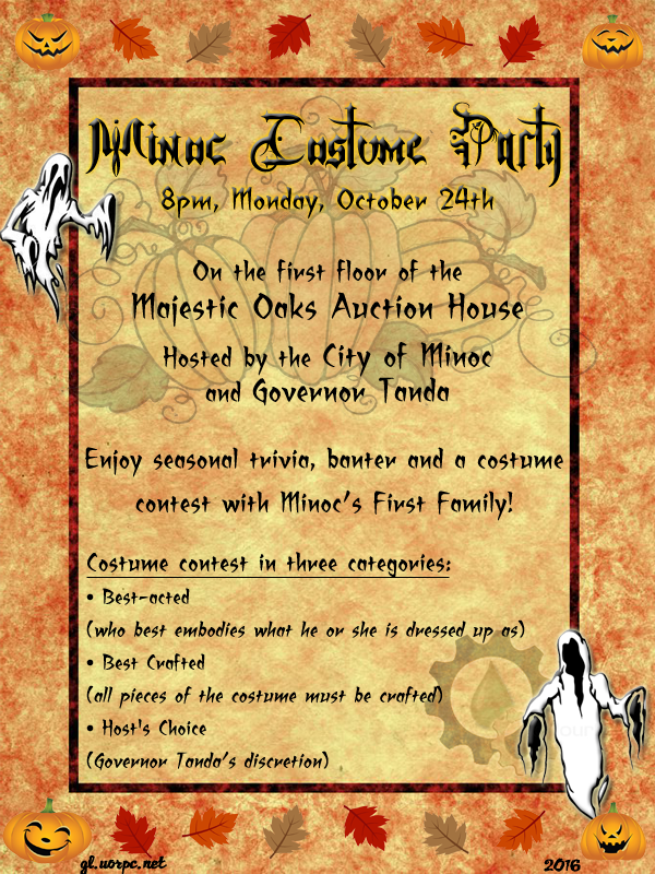 Minoc Costume and Trivia Party Oct. 24th @8pmC