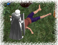 A mysterious knight decapitates Ors' corpse.