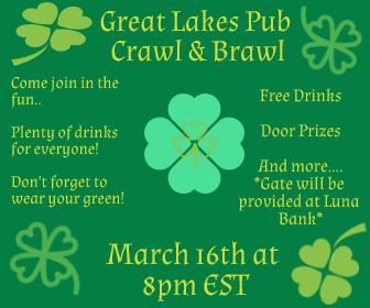 GL Pub Crawl & Brawl, Fri. Mar, 16th @ 7pm C